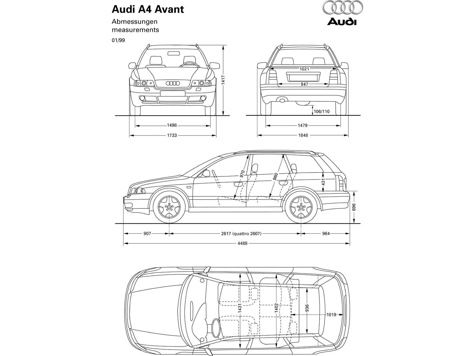 A4 Avant 18t Quattro B5 A4 Dane Techniczne Audi Klub Polska