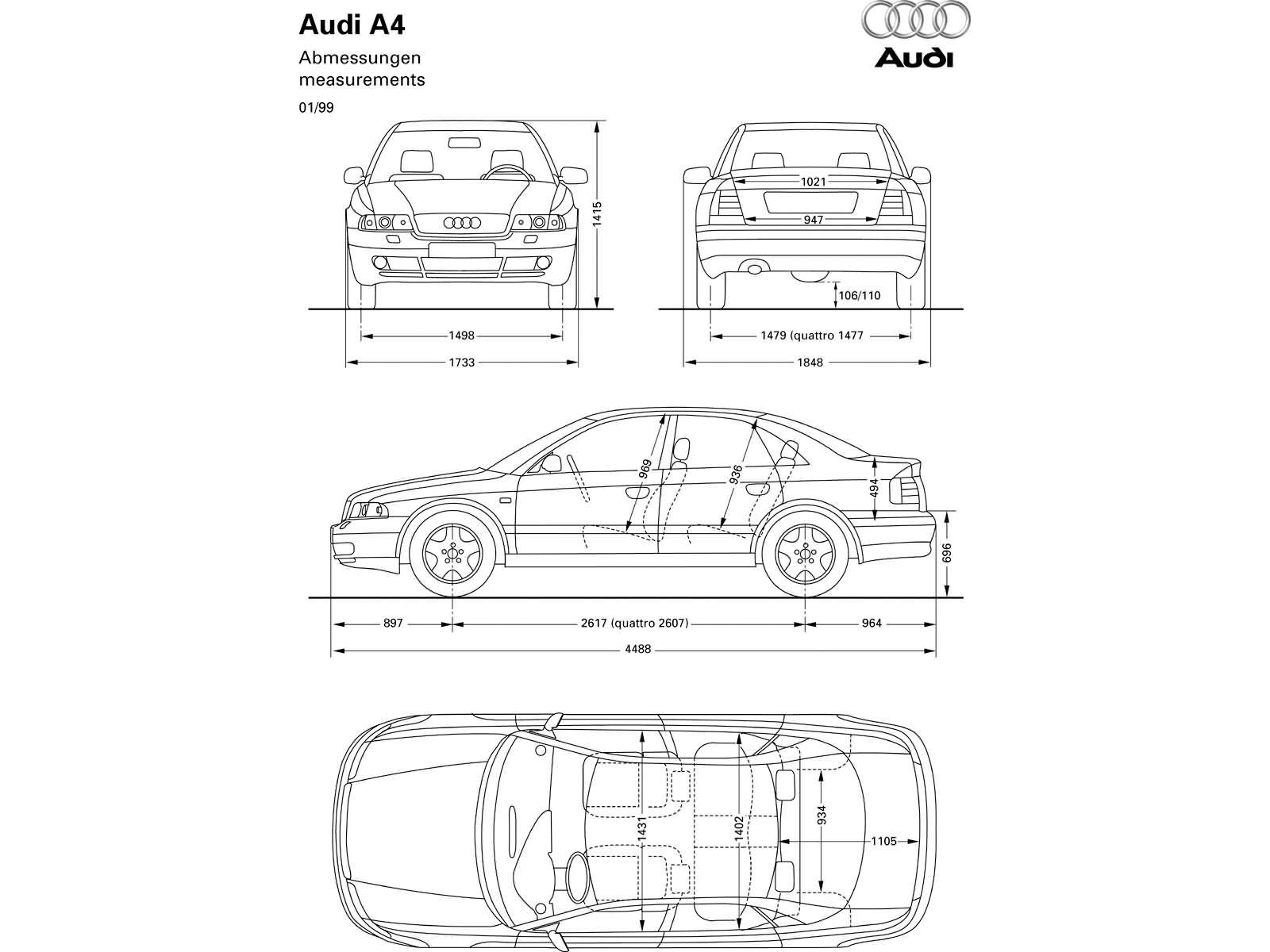 A4 18t B5 A4 Dane Techniczne Audi Klub Polska